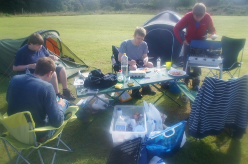 Eating at the campsite