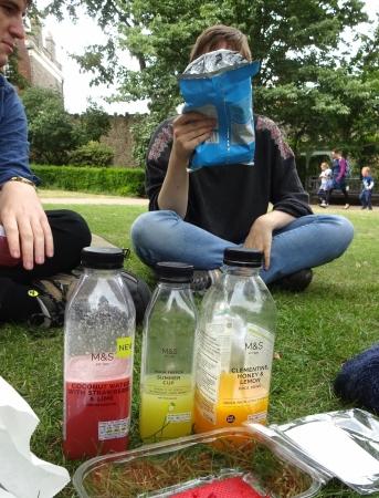 Sampling various posh drinks