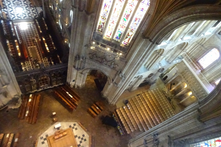 Looking down into Ely Cathedral from the octagon tower