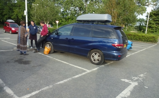 In the car park