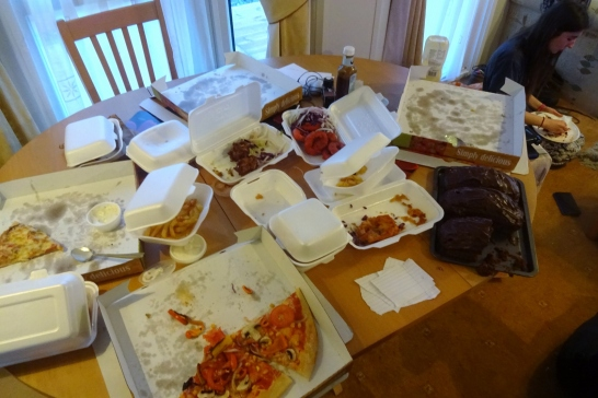 The remains of the takeaway!