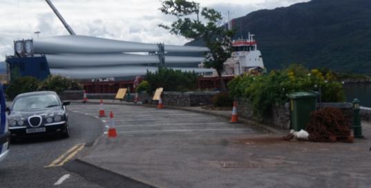 The turbine blade ship at Kyle of Lochalsh