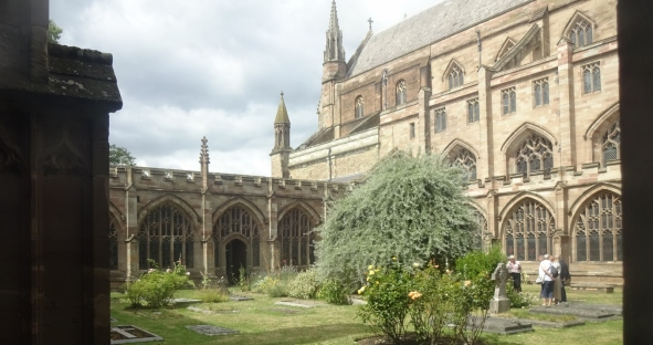 The cloister at Worcester Cathedral